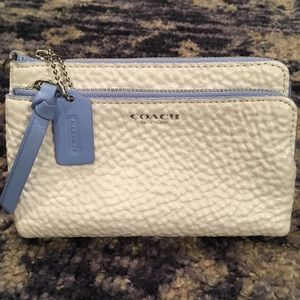 Coach Double Zip Small Wallet in Pebble Leather